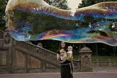 a giant bubble at bethesda fountain in central park