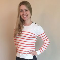XS Banana Republic light weight sweater Orange and white striped light weight sweater/shirt. Great for a cool spring day. Love this...just need to clean he closet out Banana Republic Tops Blouses
