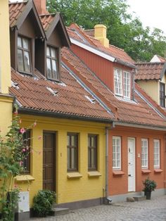 Hans Christian Andesen Hus (a section of Odense, Denmark where they dedicate museums in honor of HC Andersen) Odense Denmark, Copenhagen Denmark, Denmark Europe, Kingdom Of Denmark, Andersen's Fairy Tales, Danish Christmas, Scandinavian Countries, Hans Christian, Beautiful Buildings