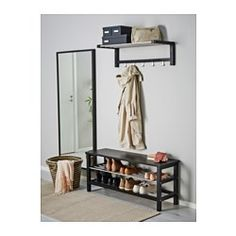 IKEA - TJUSIG, Panca con vano per scarpe, nero, 108x50 cm,