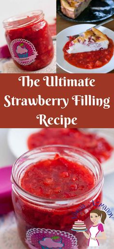 Strawberry Compote, Strawberry Filling For Cake, Strawberry Filled Cupcakes, Strawberry Glaze, Strawberry Roses, Tart Filling, Filling Food, Fruit Filling Recipe, Cupcake Filling Recipes