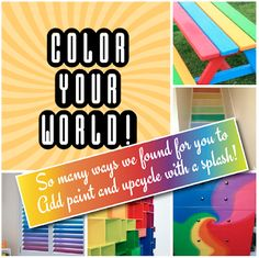 A Colorful Array of Painted Rainbow UPCYCLED Crafts Furniture & Decor Ideas Furniture Decor, Painted Furniture, Earth Day Crafts, Rainbow Painting, Rainbow Crafts, Help The Environment, Rainbow Wall, Upcycled Crafts, Rainbow Colors