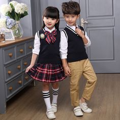 Students School Uniforms Japanese Children Clothing Sets For Girls Korean Autumn Boys Tracksuits 4Pcs 2-20 Years Teenagers Suits(China (Mainland))