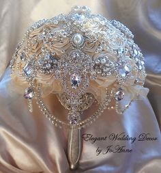 JEWELED BRIDAL BOUQUET Elegant Vintage by Elegantweddingdecor