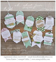 Stampin' Dolce: Christmas Gift Tag Class! - registration is open!
