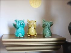 "From previous pinner: ""OMG! Love pigs with wings & they are ""Hear no Evil, Speak no Evil & Hear no Evil"" pigs on top of it!"