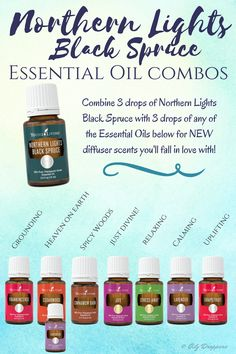 Combine Northern Lights Black Spruce with any of the oils pictured for NEW diffuser scents you will fall in love with!