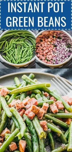 These are the best Instant Pot Green Beans! You can add ham or bacon, and use fresh or frozen green beans. It's so easy and simple when you learn how to cook this side dish in the pressure cooker, much faster than ordinary steamed green beans. They're seasoned with garlic, salt, and pepper. Great for Thanksgiving, and anyone following a low carb, keto, paleo, gluten free, whole30, and healthy diet. #lowcarb #keto #instantpot