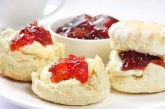 Devon Scones with Cream and Jam. Devon Scones A Heavenly Treat for Tea Time! Recipe for scones. Scones And Jam, Basic Scones, Scones And Clotted Cream, Lemon Scones, Savory Scones, How To Make Scones, Making Scones, Homemade Strawberry Jam, Strawberry Preserves