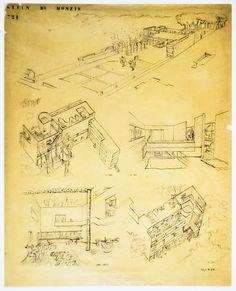 Corners of the Century: Le Corbusier Le Corbusier, Modern Architecture, Art Nouveau, Vintage World Maps, Sketches, Villa, Drawings, Boards, Interiors