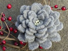 Valentine gift. Pretty upcycled wool sweater brooch by WoolenBlooms on Etsy