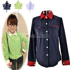 Women's Candy Contrast Color Corduroy Collar Casual Long Sleeve Shirt