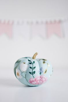 Rifle Paper Co. Inspired Pumpkins — For All Things Pretty - - When white mini pumpkins meet For All Things Pretty magic happens. Pink Pumpkins, Painted Pumpkins, Fall Pumpkins, Halloween Pumpkins, Holidays Halloween, Fall Halloween, Halloween Crafts, Halloween Decorations, Christmas Holidays