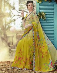Light Mehendi Green Color Georgette Casual Wear Sarees : Nivedita Collection YF-27195
