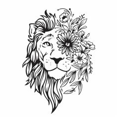 Discover recipes, home ideas, style inspiration and other ideas to try. Vinyle Cricut, Cricut Vinyl, Lion Flower, Flower Svg, Lion Vector, Vector Art, Tattoo Fairy, Tribal Tattoos, Tattoos Skull