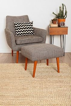 Modern Ottoman - I love all of this for you. Chair + ottoman, pillow, industrial/modern side table.