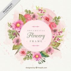 Romantic floral frame painted with watercolors Free Vector