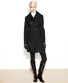 Betsey Johnson Coat, Double-Breasted Wool-Blend Ruffle-Trim - Coats - Women - Macy's