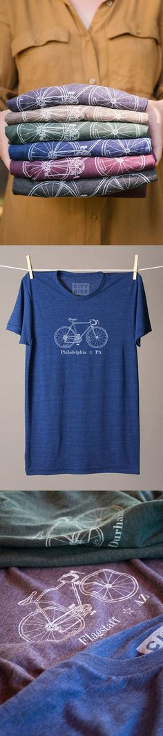 This company sells bike tees with your city's name on them. Screen printed by hand and made to order. You can choose between 45 cities and 15 colors. If you don't see your hometown as an option, you can customize with ANY city if you order four t-shirts or more. So perfect for gifts! Every member of the cycling club can have a different one! Love this.:
