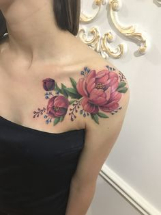 50 Gorgeous And Exclusive Shoulder Floral Tattoo Designs You Dream To Rose Tattoos, Body Art Tattoos, New Tattoos, Girl Tattoos, Peony Flower Tattoos, Tattoo Girls, Tatoos, Trendy Tattoos, Unique Tattoos