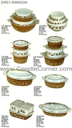 Early American Pyrex Ware, image from 1970 catalogue.