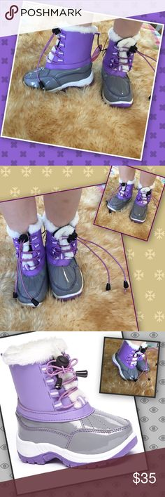 """Purple Stompers Thick traction soles on these lavender beauties that help prevent slips. Cool drawcord laces and faux fur snugly trim! These are cute, sturdy, and fun all in one! Man made materials for comfort! Company size chart: toddler 9/10, inches 6.13-6.5"""", may fit toddler 2-4 years depending on child's foot size, 1"""" heel. Trendy cute boot! Shoes Boots"""