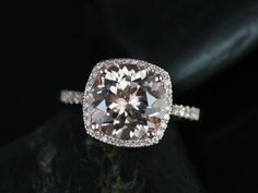 Samina Queen Size 14kt Rose Gold  Morganite and Diamonds Cushion Halo Engagement Ring (Reserved for Elka) on Etsy, $1,415.00