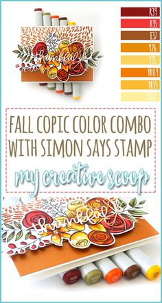 Fall Copic Marker Color Combo - Be inspired to create Fall themed cards using your Copic Markers. Join us for a new Simon Says Stamp Challenge! Copic Marker Art, Copic Pens, Copics, Coloring Tips, Free Coloring Pages, Copic Markers Tutorial, Color Of The Day, Alcohol Markers, Card Making Techniques