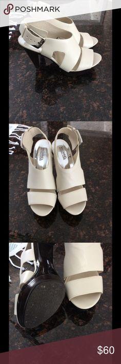 "Michael Kors Sandals Cream leather Michael Kors sandals. Size 8.5 wit 4"" heel. Never worn Michael Kors Shoes Heels"