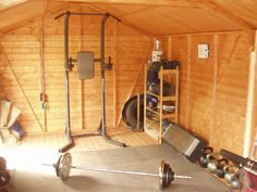 Turning your shed into a gym can be easier than you think... It will require a little bit of cash outflow up front, but unlike a gym, it won't require monthly payments for very long and it's always right there in your backyard when you need it. Image src: hobogym.blogspot.com