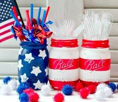 Independence Day mason jars.  Save time and keep the white parts clear.