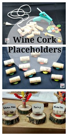 Wine Cork Placeholders - Love how they're set on the log discs, ties in perfectly with my garland!