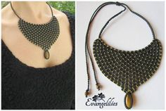 "✿ ""Naomi"" ....macrame necklace with Tiger Eye  https://www.facebook.com/evangelilies/photos/pb.1533543136930128.-2207520000.1454973756./1662501720700935/?type=3&theater"