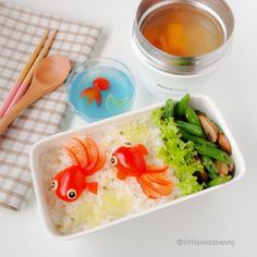 Little Miss Bento  シャリーのかわいいキャラベン: Goldfish Bento with Soup & Kanten Jelly 金魚のキャラ弁・スープ作り方