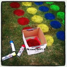 Use a box with a circle cut out to spray cirecles for lawn twister