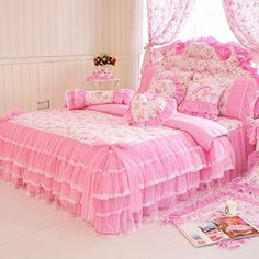 MeMoreCool Home Textile Elegant Design Pastoral Style Floral Lace Princess Bedding Set Girly Ruffle Duvet Cover Fashion Exquisite Falbala Bed Skirt Twin Size ** Find out more about the great product at the image link. Pink Bedding Set, Ruffle Bedding, Queen Bedding Sets, Luxury Bedding Sets, Floral Bedding, Bedding Master Bedroom, Girls Bedroom, Bedroom Decor, Bedroom Ideas