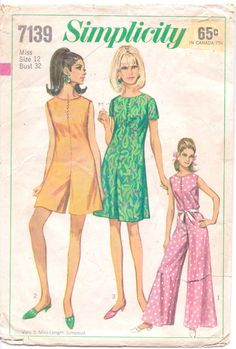 1960s Simplicity Sewing Pattern 7139 Womens Mod by CloesCloset
