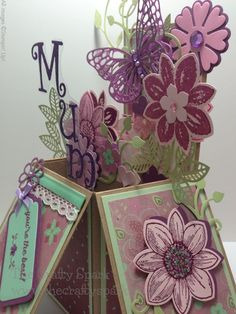 Card-in-a-box using Stampin Up Petals Potpourri stamp set, flower medallion punch and a beautiful butterfly from the sizzix butterflies basics set exclusive to Stampin Up