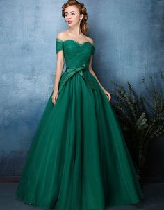 Forest Green Off Shoulder Tulle Ball Gown Formal Dress | X1603 Green Evening Dress, Blue Evening Gowns, Formal Evening Dresses, Black Mermaid Dress, Mermaid Dresses, Off Shoulder Gown, Off Shoulder Evening Dress, Off The Shoulder, Prom Dresses 2016