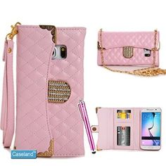 Galaxy Note 5 Case,CASELAND [Grid Feature] Handbag Folio Cover PU Leather Wallet Case Crystal Button With Lanyard And Sling Case For Samsung Galaxy Note 5 Pink