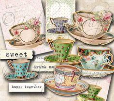 TEA CUPS Collage Digital Images -printable download file Scrapbook Printable Sheet on Etsy, $4.45
