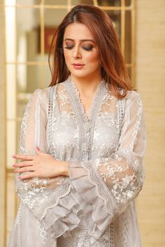 A soft shaded, embossed organza shirt with ruffled detailing and hand made pearl buttons makes this perfect dinner wear. Dinner Wear, Eid Collection, Silk Pants, Kurta Designs, Pakistani Dresses, Kurtis, Salwar Kameez, Elegant Dresses, Ruffles