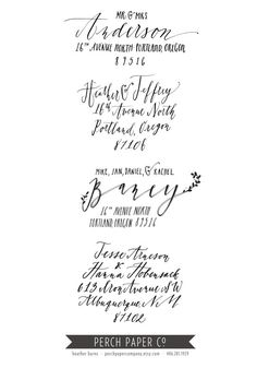 Custom CALLIGRAPHY Return Address Stamp By Perchpapercompany 5200 Labels Calligraphy