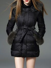 Faux fur Hooded Down Parka with Belt