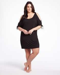 47bfaa83a76ee  AdditionElle  PlusSize  Swimwear 2013 open sleeve cover-up Addition Elle
