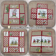 weihnachtliche Endloskarte mit Zuckerstangenzauber und den Festtagsmäuse Stempelset von Stampin´Up! Tri Fold Cards, Fancy Fold Cards, Folded Cards, Fall Cards, Winter Cards, Christmas Cards, Stampin Up Christmas, Christmas Paper, Infinity Card