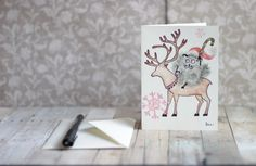 Card. Original hand painted new year theme by Eledesignartgallery
