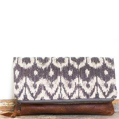 eclu - Ikat Leather Clutch