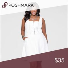 Ashley Stewart faux leather white dress sz 18 New W/tags White faux leather skater dress with side pockets  very cute Ashley Stewart Dresses