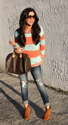 Gingham button down + color matching striped sweater + distressed straight jeans + booties